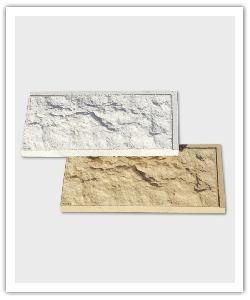 Plaquettes Bosselés avec faux-joints - Blanc cassé et Ton pierre - en pierre reconstituée
