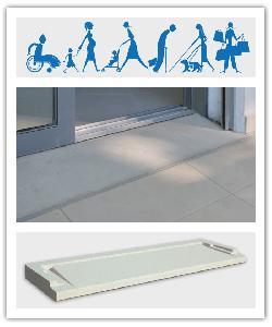 Seuil de porte PMR, pour l'accès aux personnes à mobilité réduite - gris et blanc cassé - en pierre reconstituée