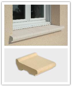 Tablette d'appui de fenêtre Weser - Blanc cassé et ton pierre - en pierre reconstituée