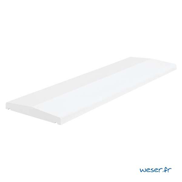 Chaperon Pierre Lisse Éco 2 pentes - 1 mètre - largeur 30 cm - Coloris Blanc