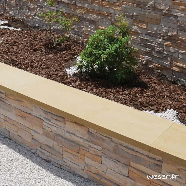 Chaperon OPTIPOSE® Plat 1 mètre WESER - largeur 30cm - Coloris Ton pierre sans joint