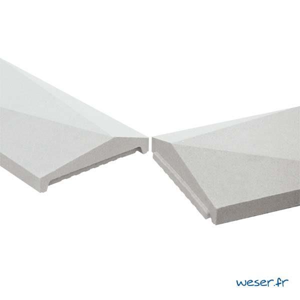 Emboîtement mâle-femelle du Chaperon OPTIPOSE® Trigone 1 mètre WESER - largeur 30cm - Coloris Blanc cassé