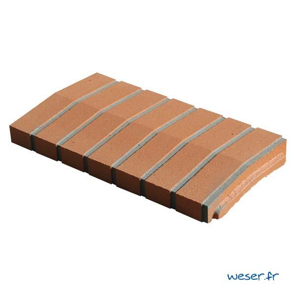 Chaperon OPTIPOSE® 2 pentes Weser - largeur 28 cm- coloris Aspect Brique avec joint gris