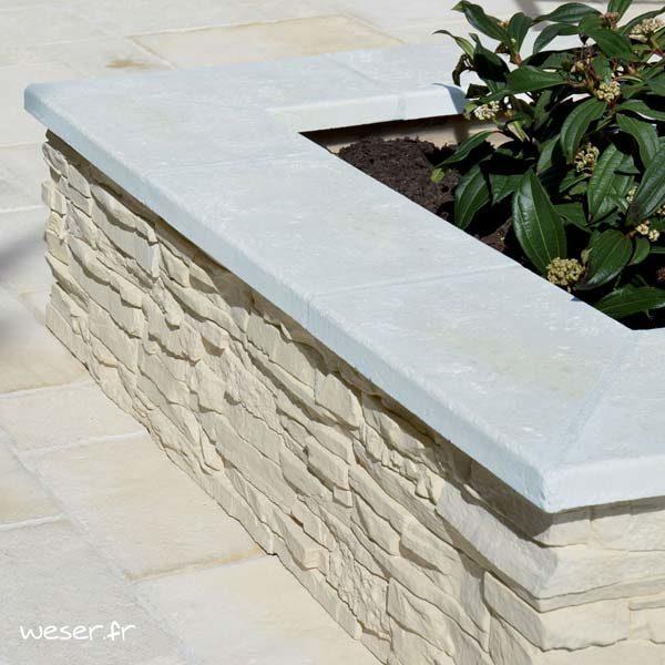 Couvre-mur Vieille pierre Plat - largeur 28 cm - Coloris Blanc Tradition