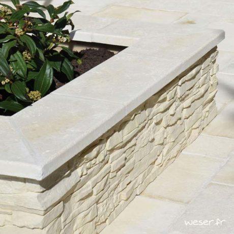 Couvre-mur Vieille pierre Plat - largeur 28 cm - Coloris Crème
