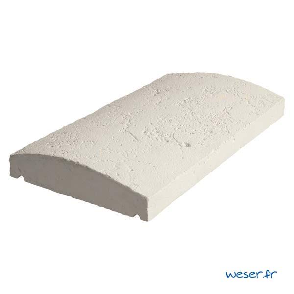 Couvre-mur Vieille pierre Arrondi - largeur 28 cm - Coloris Crème
