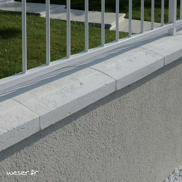 Couvre-mur Vieille pierre Arrondi - largeur 33 cm - Coloris Blanc Tradition