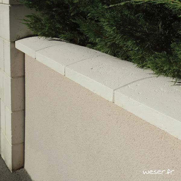 Couvre-mur Vieille pierre Arrondi - largeur 33 cm - Coloris Crème