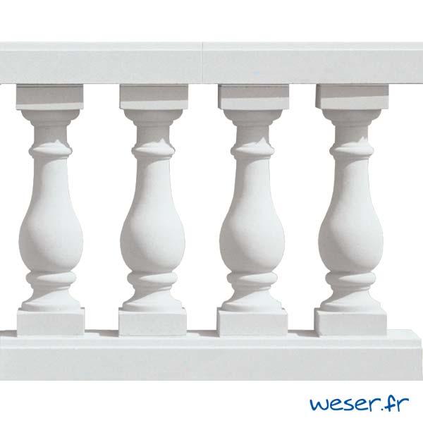 Balustres Azay 59 et Lisses Plates Weser - Albâtre (Blanc)