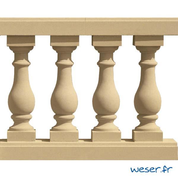 Balustres Azay 59 et Lisses Plates Weser - Sahara (Jaune Ton pierre)