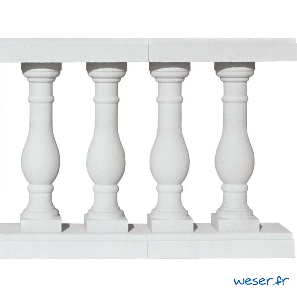 Balustres Pornic 59 et Lisses Plates Weser - Albâtre (Blanc)