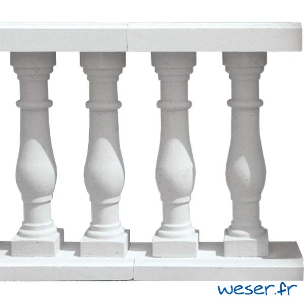 Balustres Séville 61 et Lisses Plates Weser - Albâtre (Blanc)