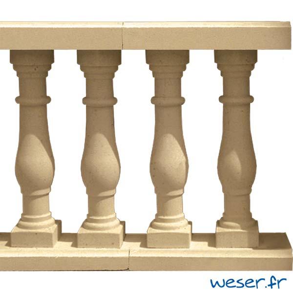 Balustres Séville 61 et Lisses Plates Weser - Sahara (Jaune Ton pierre)