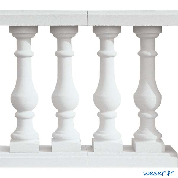 Balustres Soulac 73 et Lisses Plates Weser - Albâtre (Blanc)