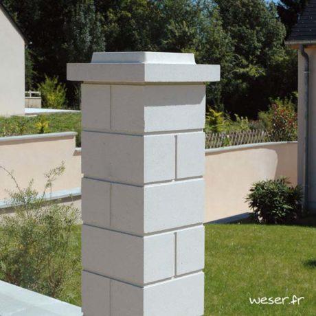 Chapeau Plat Double Couronnement pour pilier de clôture - largeur 40 - Blanc cassé