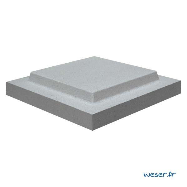 Chapeau Plat Double Couronnement pour pilier de clôture - largeur 40 - Gris