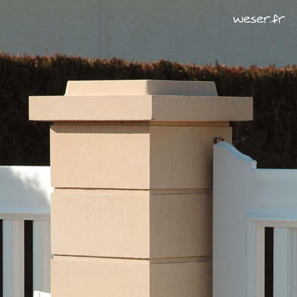 Chapeau Plat Double Couronnement pour pilier de clôture - largeur 40 - Ton pierre