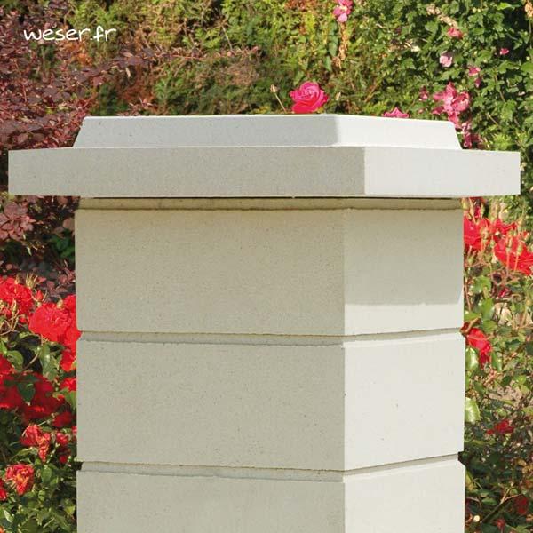 Chapeau Plat Double Couronnement pour pilier de clôture - largeur 50 - Blanc cassé