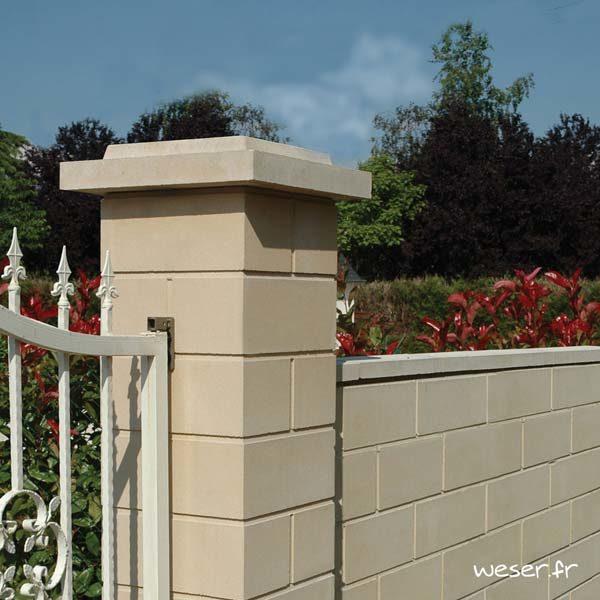 Chapeau Plat Double Couronnement pour pilier de clôture - largeur 50 - Ton pierre