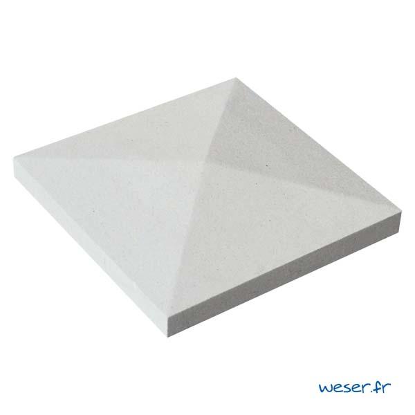 Chapeau de pilier Pointe-de-Diamant - largeur 32 - Blanc cassé