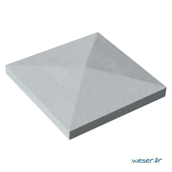 Chapeau de pilier Pointe-de-Diamant - largeur 32 - Gris