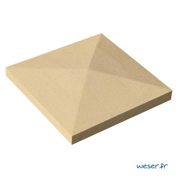 Chapeau de pilier Pointe-de-Diamant - largeur 32 - Ton pierre