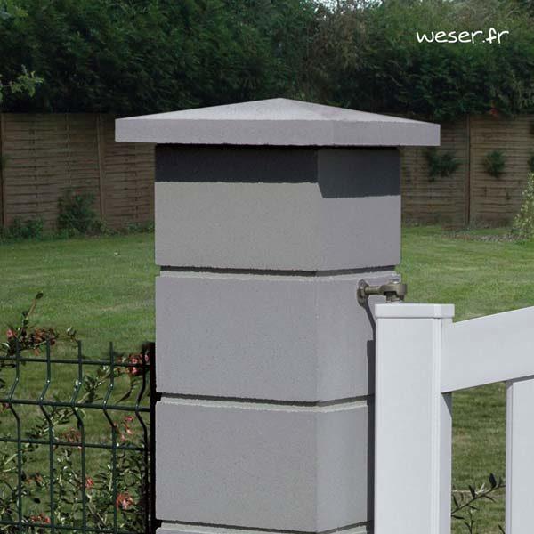 Chapeau de pilier Pointe-de-Diamant - largeur 40 - Gris