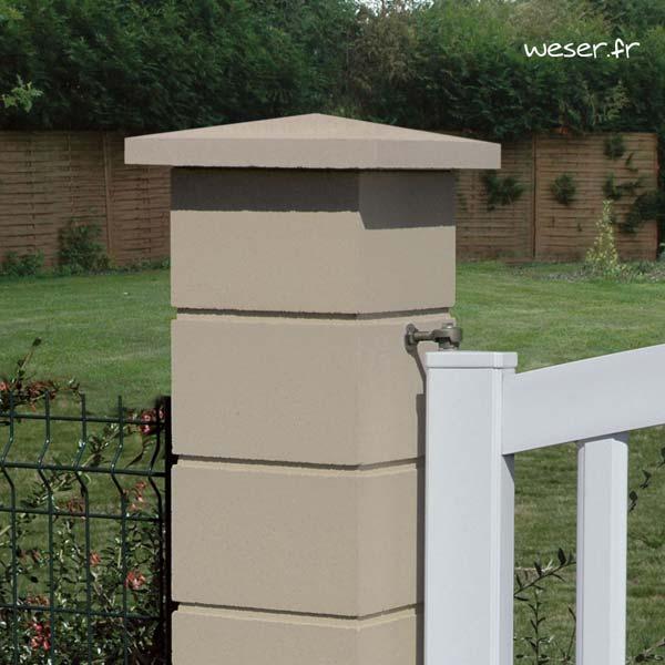 Chapeau de pilier Pointe-de-Diamant - largeur 40 - Ton pierre