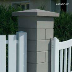 Chapeau de pilier Pointe-de-Diamant - largeur 50 - Gris