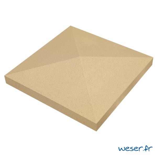 Chapeau de pilier Pointe-de-Diamant - largeur 50 - Ton pierre