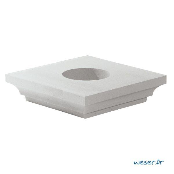 Chapiteau pour poteau Weser - largeur 42 cm Ø18 cm - Blanc cassé