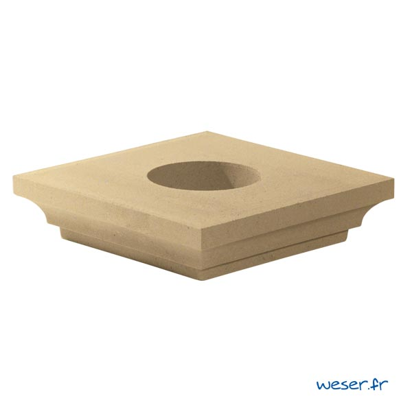 Chapiteau pour poteau Weser - largeur 42 cm Ø18 cm - Ton pierre