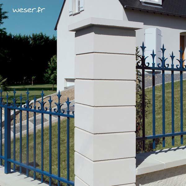 Chapeau Plat pour pilier de clôture - largeur 40 - Blanc cassé