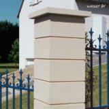 Chapeau Plat pour pilier de clôture - largeur 40 - Ton pierre