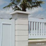 Chapeau Plat pour pilier de clôture - largeur 50 - Blanc cassé