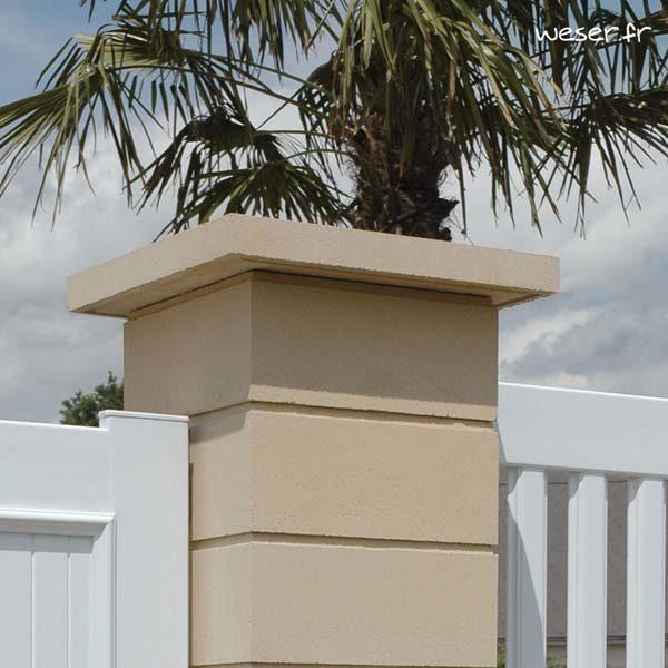 Chapeau Plat pour pilier de clôture - largeur 50 - Ton pierre