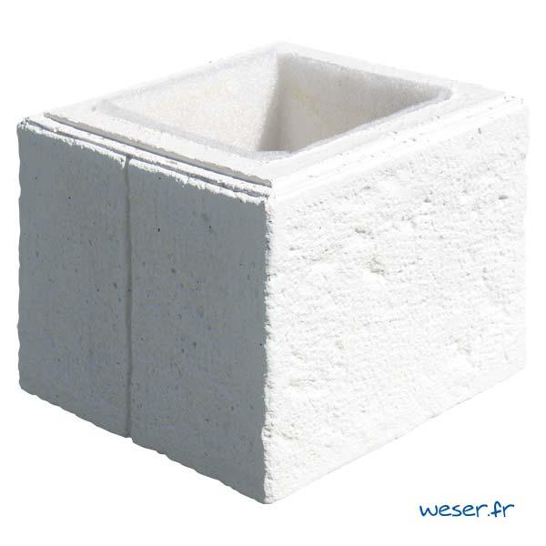 Élément de pilier de clôture ou de portail Cheverny WESER - largeur 30 cm - Blanc tradition