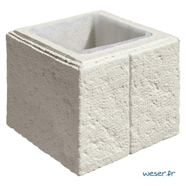 Élément de pilier de clôture ou de portail Cheverny WESER - largeur 30 cm - Crème