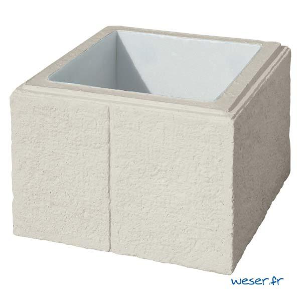 Élément de pilier de clôture ou de portail Cheverny WESER - largeur 38 cm - Crème