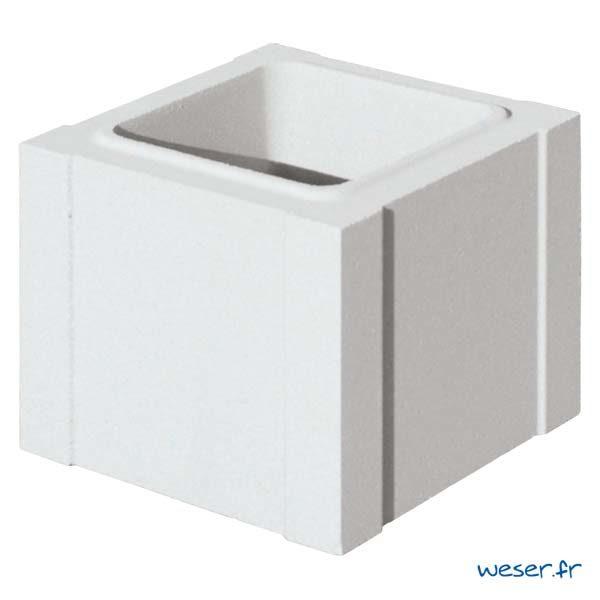 Élément de trumeau de balustrade Weser - largeur 25 cm - Albâtre (Blanc)