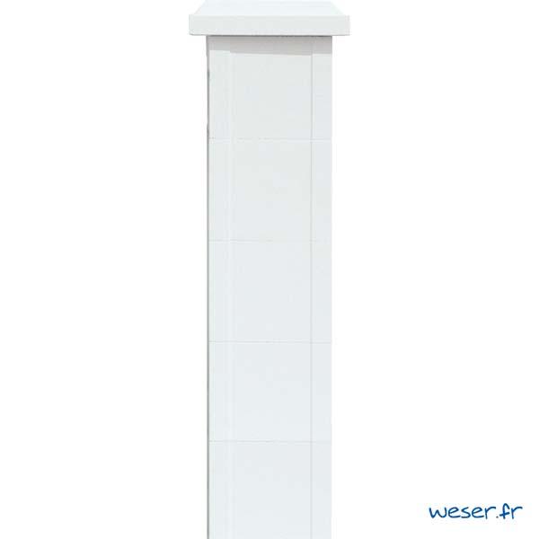 Élément de trumeau largeur 25 et chapeau largeur 32 de balustrade Weser - Albâtre (Blanc)