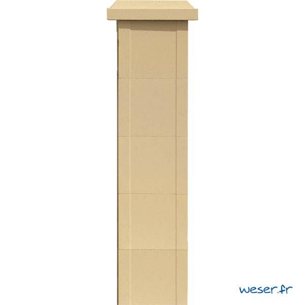 Élément de trumeau largeur 25 et chapeau largeur 32 de balustrade Weser - Sahara (Jaune Ton pierre)