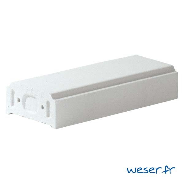 Lisse - Main courante pour balustrade Weser - hauteur 10 cm - Albâtre (Blanc)