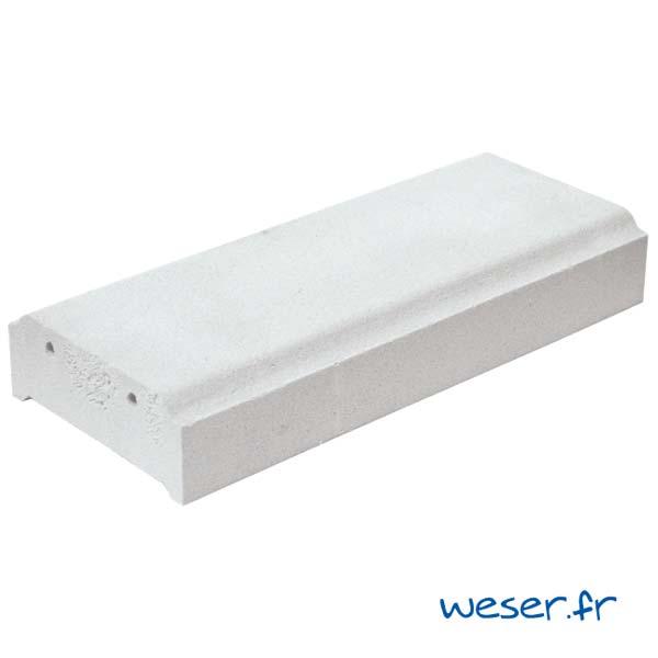 Lisse - Main courante pour balustrade Weser - hauteur 8 cm - Albâtre (Blanc)