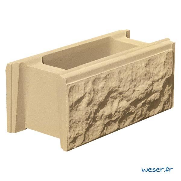 Élément de muret de clôture Bosselé Weser - Ton pierre