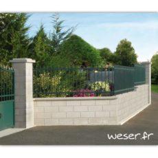 Muret de clôture Lisse Weser - Blanc cassé