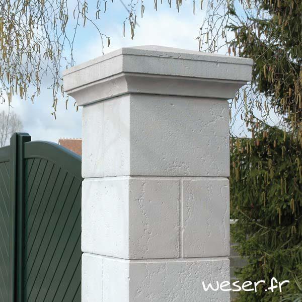 Pilier de clôture et portail Amboise - Coloris Banc Tradition