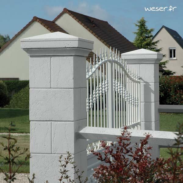 Pilier de clôture et portail Amboise - Coloris Blanc Tradition - WESER