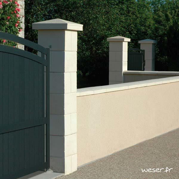 Pilier de clôture et portail Amboise sans Chapiteau - Coloris Crème