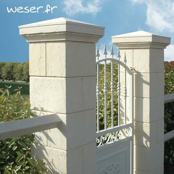 Pilier de clôture et portail Amboise - Coloris Crème